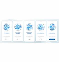 Online teaching jobs types onboarding mobile app vector