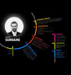 original circular resume template vector image