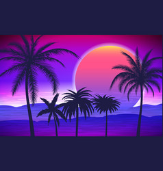 Palm trees on tropical sunrise vector