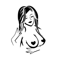Pin up girl with bare breast vector