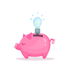 Pink piggy bank and bulb saving and investing vector