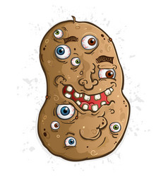 potato cartoon character covered in eyeballs vector image