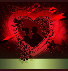 Red design with silhouette of heart vector