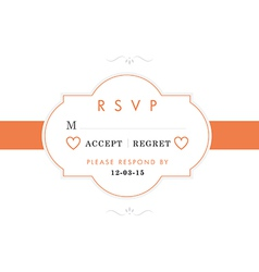 RSVP Wedding card orange style vector