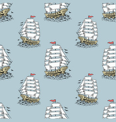 sailboat sketch seamless pattern vector image