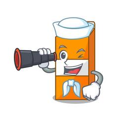 Sailor with binocular package juice mascot cartoon vector