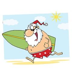 Santa Claus Surfer Mascot Cartoon Character vector image