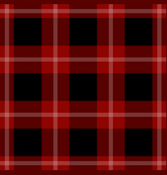 seamless black red tartan with white stripes vector image