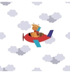 Seamless pattern flying deer on a plane in clouds vector