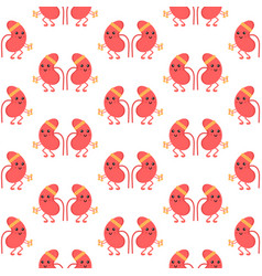 seamless pattern with cartoon kidney characters vector image