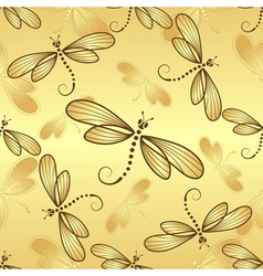 Seamless pattern with gold gradient dragonflies vector