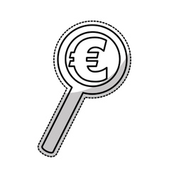 Search magnifying glass with euro symbol isolated vector