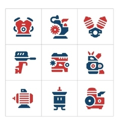 Set color icons of motor and engine vector