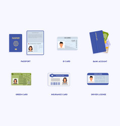 set legal documents id cards passport student vector image