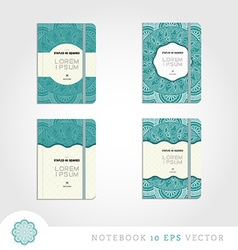 Set of notebooks with mandala background vector image