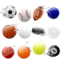Set of sport balls crashed vector