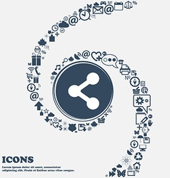 Share icon sign in the center Around the many vector