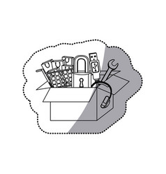 Sticker monochrome contour with box obsolete vector
