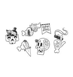 Strange skater stickers vector