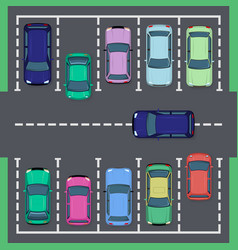 street car parking top view street vehicle vector image