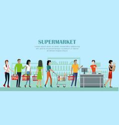 supermarket concept banner in flat style design vector image