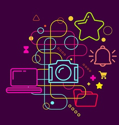 Symbols of working with photos on the computer on vector