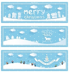 Three happy new year and christmas banner vector image