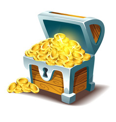 treasure chest with gold vector image