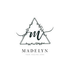 triangle shape hand drawn floral frame letter m vector image