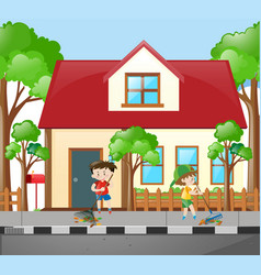 Two boys raking leaves in front of house vector