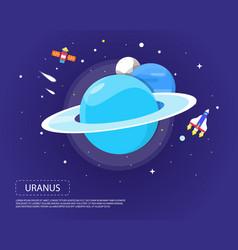 Uranus pluto and neptune of solar system design vector