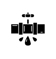 water pipes black icon sign on isolated vector image