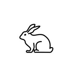 web line icon rabbit bunny black on white vector image