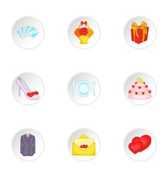 Wedding ceremony icons set cartoon style vector image