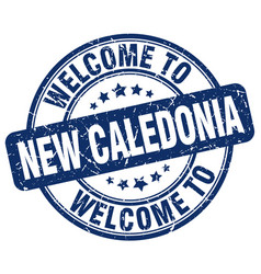 Welcome to new caledonia blue round vintage stamp vector