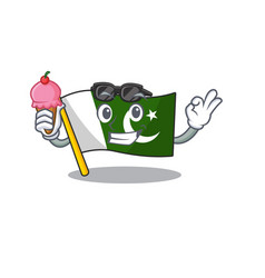 With ice cream flag pakistan character in shaped vector