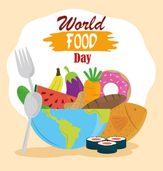 world food day full planet with various prdoucts vector image