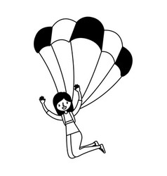 young woman with parachute vector image