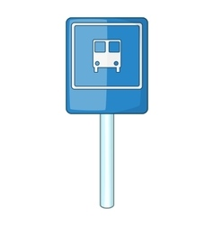 Blue bus stop sign icon cartoon style vector
