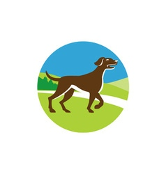 English Pointer Dog Pointing Up Circle Retro vector image vector image