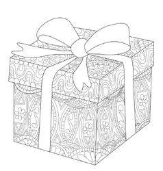 Gift box with bow coloring for adults vector image vector image