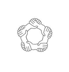 hands shaking hands a written in a pentagon shape vector image vector image