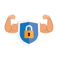 Metal padlock shield on white vector image vector image