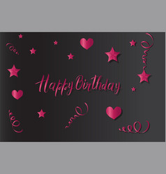 tinsel and stars happy birthday set for cards and vector image
