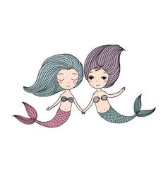 two beautiful little mermaid siren sea theme vector image