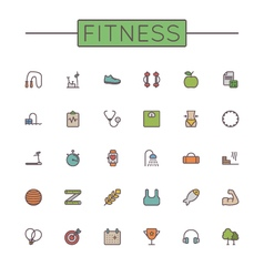 Colored Fitness Line Icons vector image