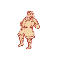 Santa Claus Father Christmas Thumbs Up Etching vector image