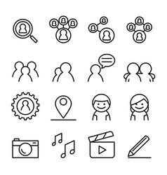 social network icon set vector image