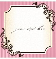 vintage rococo frame in pink vector image vector image