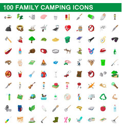 100 family camping icons set cartoon style vector image